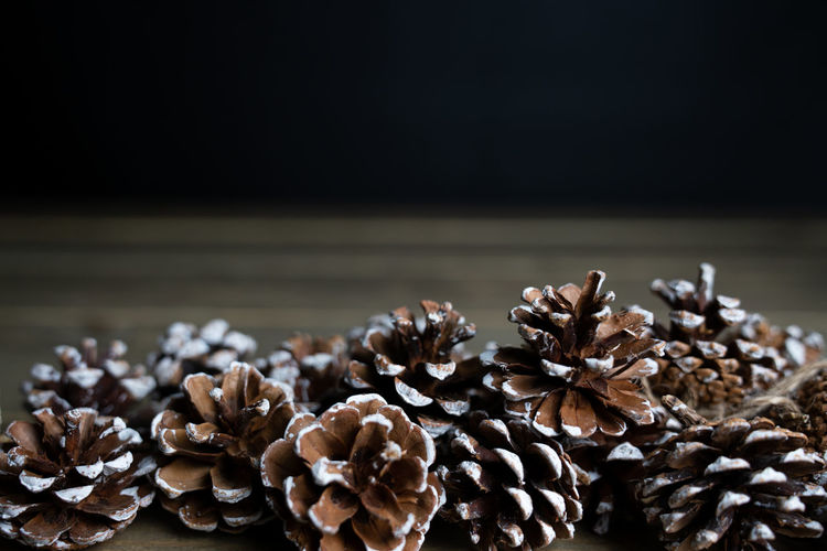 pine cones on a wooden table with a black background Close-up No People Indoors  Pine Cone Still Life Plant Table Freshness Dry Selective Focus Large Group Of Objects Wood - Material Pattern Vulnerability  Focus On Foreground Nature Abundance Dead Plant Coniferous Tree Backgrounds Abstract