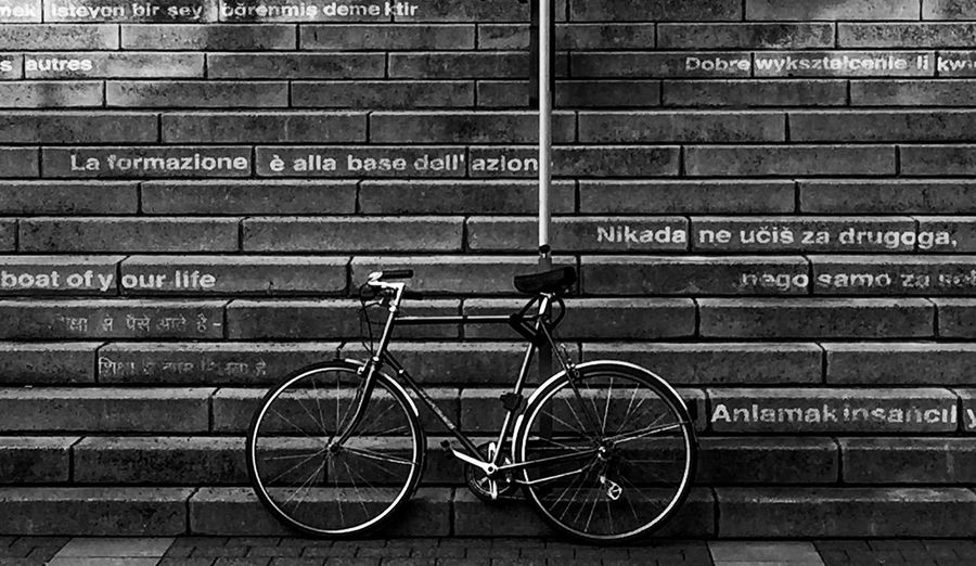 Black And White Friday Bicycle Brick Wall Mode Of Transport Architecture Transportation No People City Urbanphotography Fahrrad Bildung Volkshochschule Offenbach Am Main