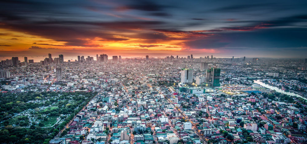 View of Manila Skyline Sunset Architecture City Cityscape Cloud - Sky Crowded High Angle View Manila Skyline Sky Skyscraper Sunset Urban Skyline