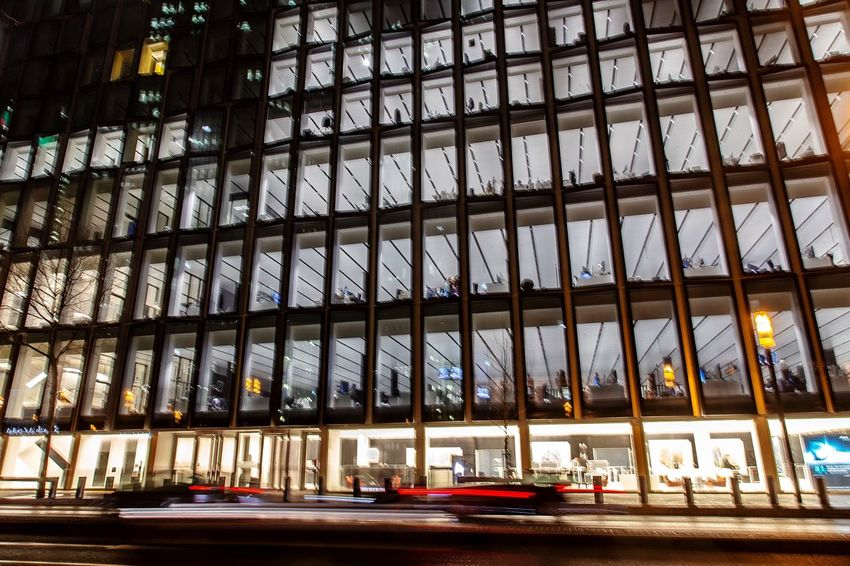 Nightshift Nightshot Nightshift Office Built Structure Architecture Building Exterior No People City Building Transportation Low Angle View Glass - Material Day In A Row Window Pattern Road Modern Outdoors Illuminated Travel Destinations Mode Of Transportation Glass
