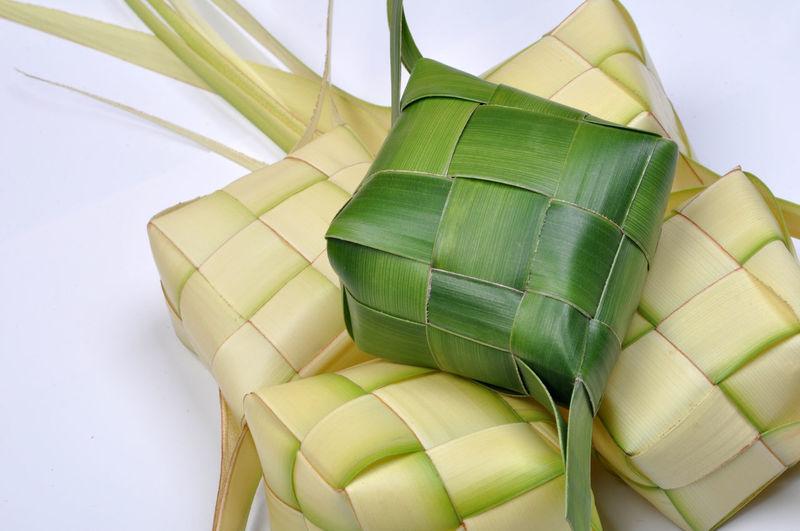 Close up view of a ketupat