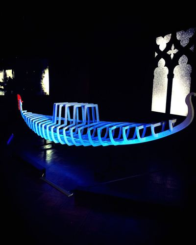 Illuminated Sculpture Gondola Blue Wood Our Place In Space Hubble Venezia 🚀 Universe Artist Antonio Abbatepaolo Italy