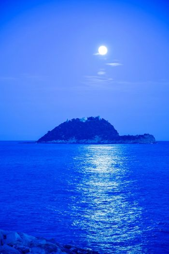 super moon on island Astronomy Super Moon 2018 Blue Sea And Blue Sky Sea At Night Romantic Scenery Romantic View Tranquility Serenity Wonderful View Liguria,Italy Wonderful Nature Sea Moon Blue Scenics Water Beauty In Nature Horizon Over Water Nature Sky No People Outdoors Vacations Night