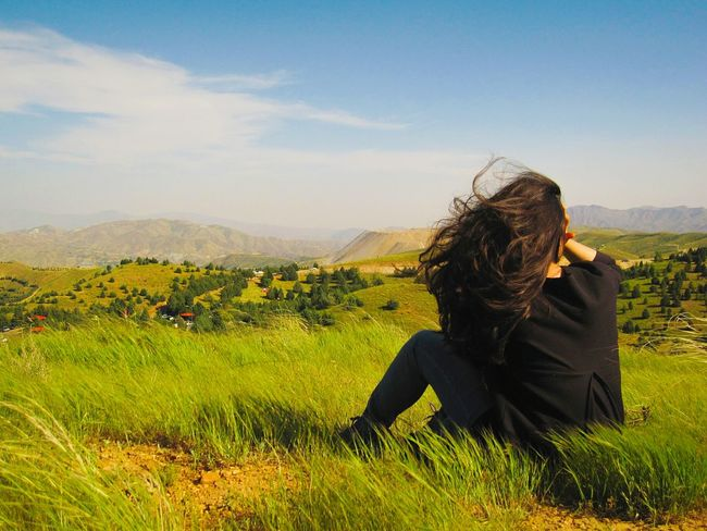 Persian Girl People Photography People And Nature Windy Day Windy Hair EyeEm Best Shots People Nature The Great Outdoors - 2016 EyeEm Awards The Portraitist - 2016 EyeEm Awards Green Landscape On The Hilltop EyeEm Nature Lover Women Around The World Welcome To Black Break The Mold Lost In The Landscape Modern Hospitality