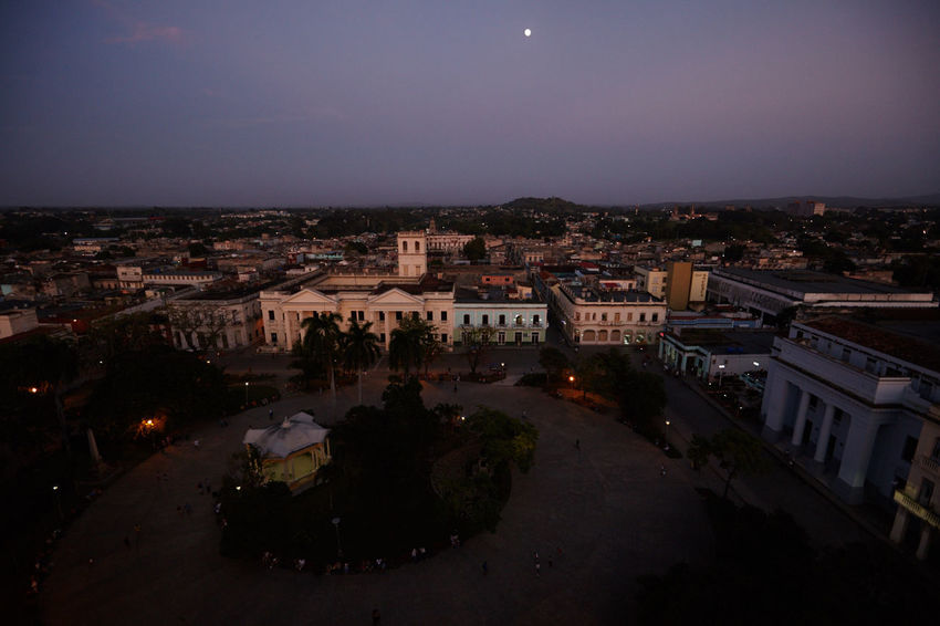 Parque Vidal, Santa Clara, Cuba City Life Cityscape Cuban Life Moon Outside Parque Vidal Santa Clara Cuba Sunset