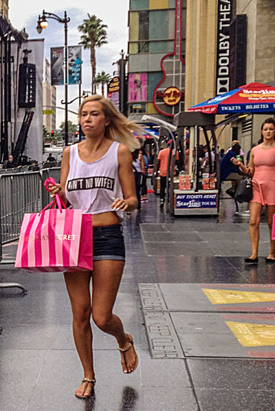 Blonde Casual Clothing CropTop Full Length Hollywood Blvd Legs Person Real People Running Late Sandals Shorts Streetphotography Victoria's Secret