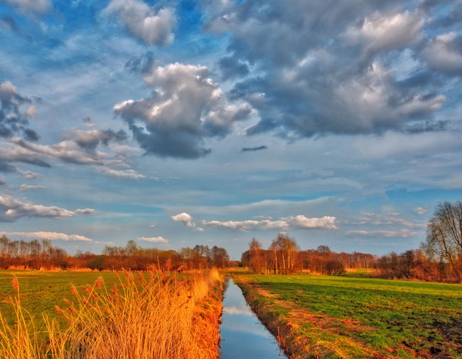 Ditch amidst field against sky during autumn
