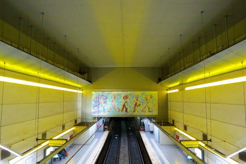 Colorful Illuminated Interior Iron - Metal Modern Multi Colored Railroad Track Subte Linea H Subway Station The Way Forward Transportation Vibrant Color Yellow