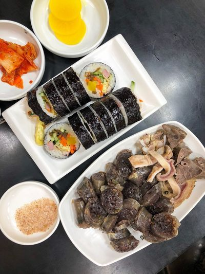 Seoul, Korea Seoul South Korea Korean Food 순대 김밥 Kimbab Food And Drink Food Freshness High Angle View Indoors  Still Life Ready-to-eat Healthy Eating No People Table Bowl Wellbeing Indulgence Sweet Food Plate Choice Variation Serving Size Close-up Dessert