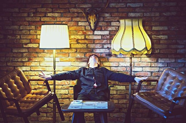 Surreal Flying Chair Men Protrait Nice Interior Floor Lamp Simetry Interior Views