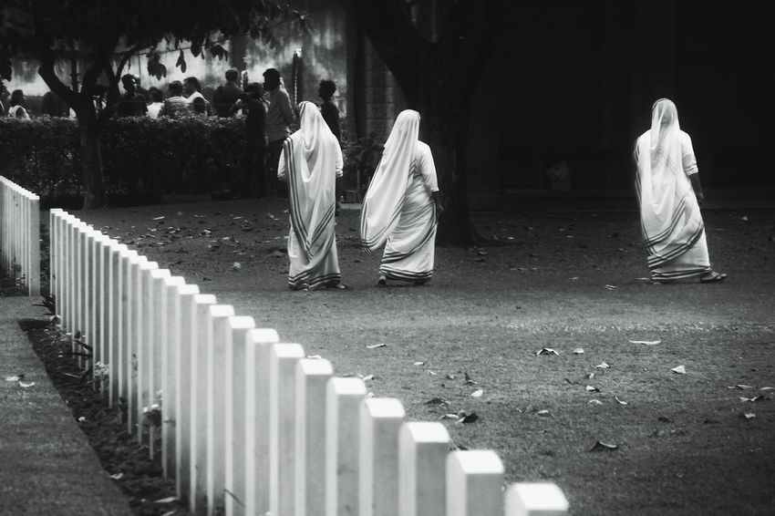monochrome Sisters Missionaries Of Charity Mother Teresa Missionaries Graveyard All Soul's Day Monochrome monochrome photography Blackandwhite Photography EyeEm Best Shots EyeEm Gallery EyeEm Selects Spirituality People Outdoors Day