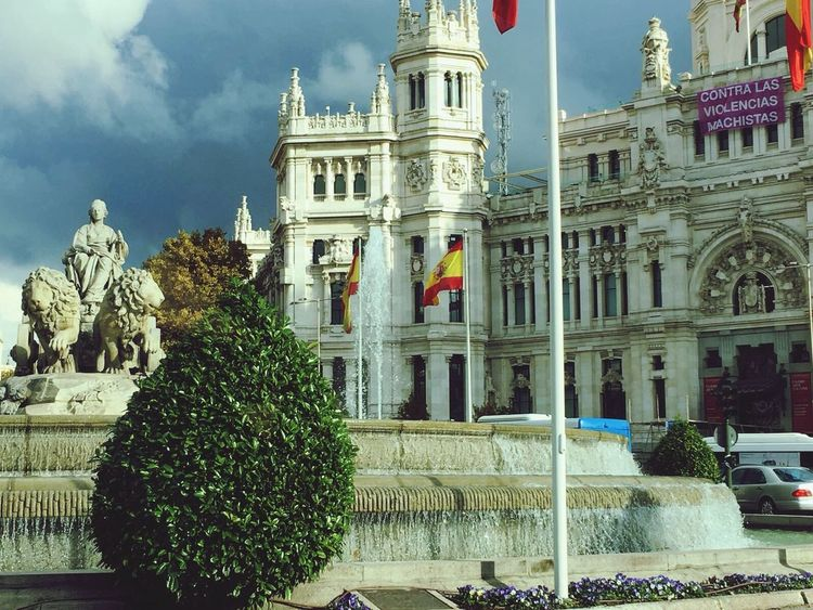 Cibeles, Madrid Tree Architecture Building Exterior Built Structure Travel Destinations Statue Sky Outdoors Sculpture Dome Day No People