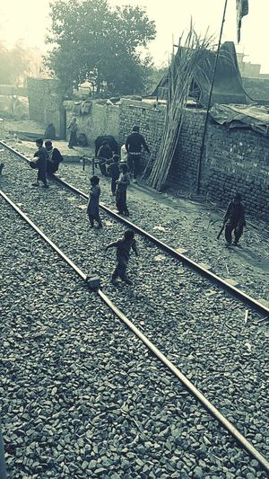 Lahore Vication Tour Love PakistaN Sand Village Life Vintage Village View Snapchat Train Tracks Train Station Outdoors Day People Sky