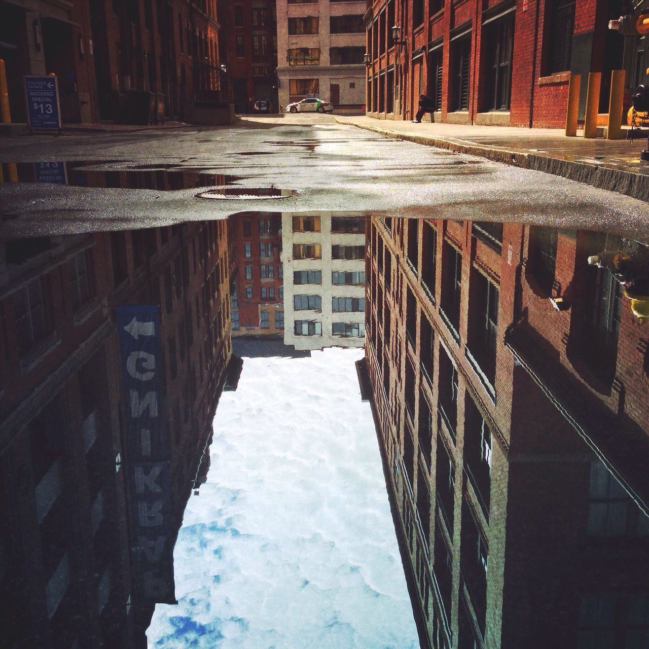 View of puddle in street