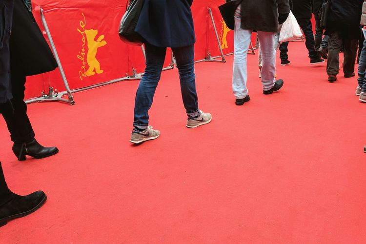 Redcarpet Filmfestival Friedrichstadtpalast Berlinale2017 Berlinale Day Outdoors Red Queing Red Carpet Event Human Leg Low Section Red Real People Cinema