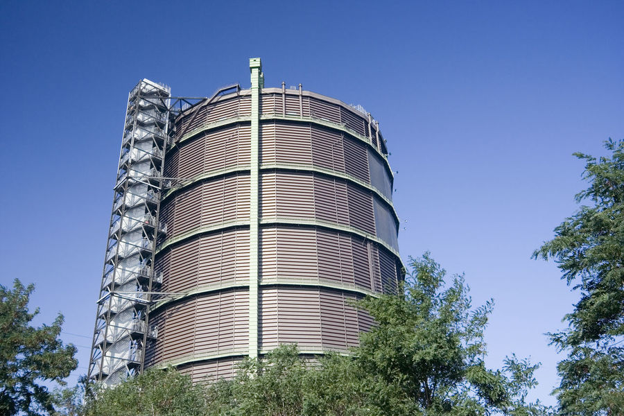 Architecture Blue Sky Building Exterior Clear Sky Fossil Fuel Gas Gas-holder Gasometer Germany History Holder Industrial Industrial Building  Industrial Culture Industry Landmark Low Angle View Monument NRW Oberhausen Outdoors Ruhrgebiet Storage Tank Wide Angle