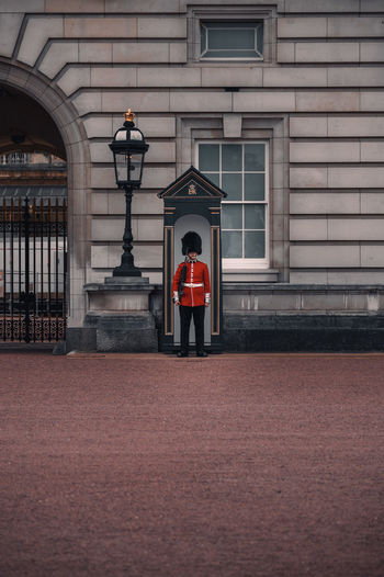 Man standing outside building