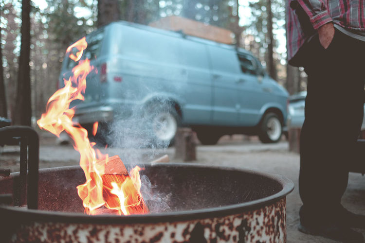 Camping in the Eastern Sierras. Burning Fire Flame Heat - Temperature Fire - Natural Phenomenon Day Nature Focus On Foreground Tree Motion Real People Outdoors Smoke - Physical Structure Preparation  Close-up Long Exposure People Men City Standing Vanlife Campervan Roadtrip