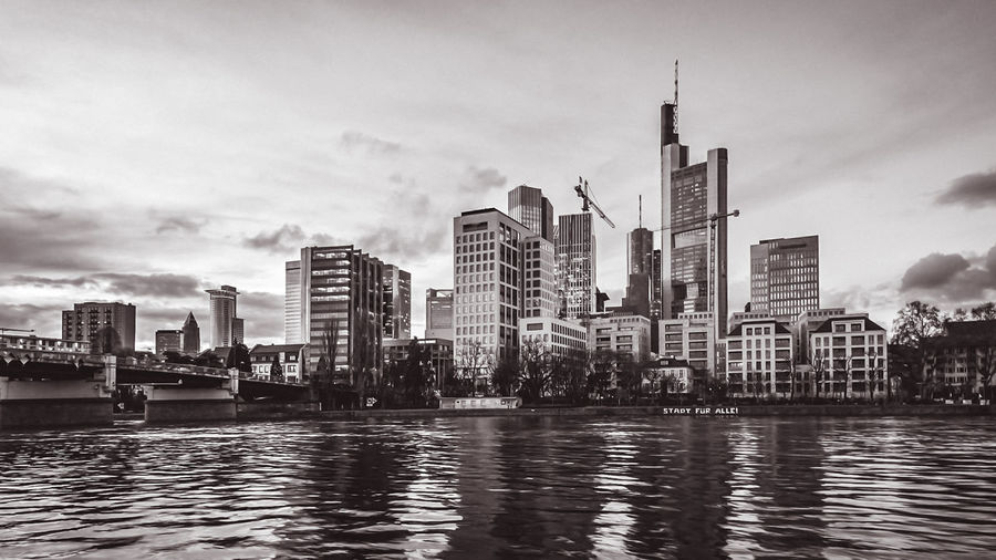 The Skyline of Frankfurt in Black and White Architecture Bridges Epic Shot Photography Frankfurt Am Main Maine Nature Photography Architecture Building Exterior Built Structure City Cityscape Day Landscapes Main Modern No People Outdoors Reflection River Sky Skyscraper Travel Destinations Urban Skyline Water Waterfront EyeEmNewHere