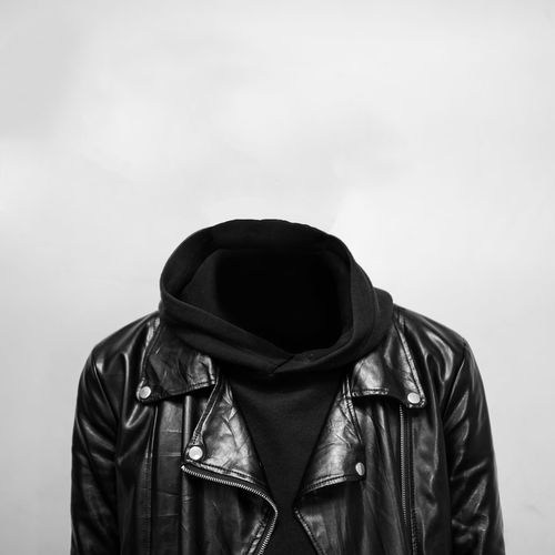 Headless Backpack Black Color Casual Clothing Clothing Copy Space Front View Headless Hood Hood - Clothing Hooded Shirt Indoors  Jacket Leather Leather Jacket Lifestyles Obscured Face People Scarf Studio Shot Unrecognizable Person Wall - Building Feature White Background The Creative - 2018 EyeEm Awards