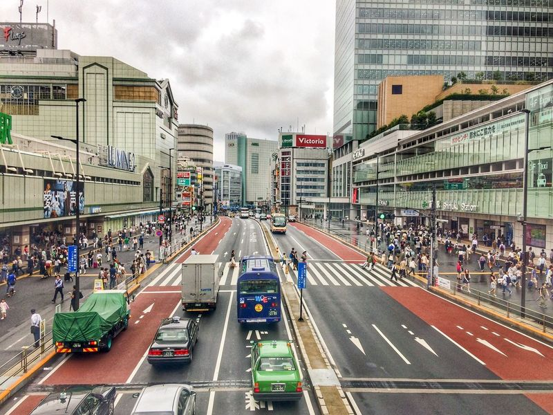 City Architecture Large Group Of People Building Exterior Transportation Built Structure City Life Road Day Sky Outdoors Skyscraper Real People Cityscape People Japan Photography Tokyo Photography Tokyo,Japan Shinjuku