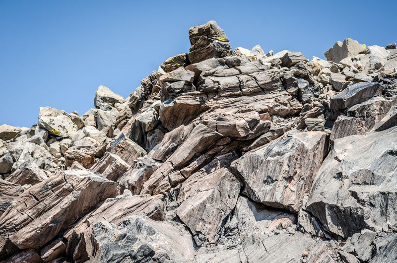 Low angle view of rocks against blue sky