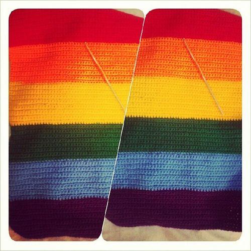 My very own rainbow scarf in progress. Saywhatyouwana