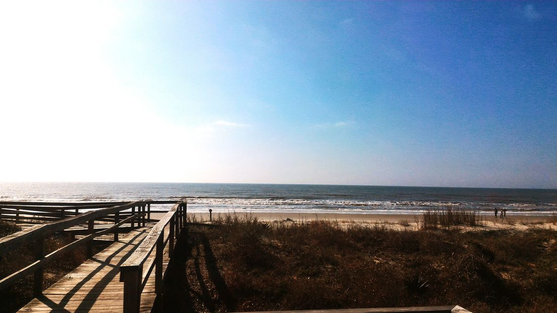 Sea Water Clear Sky Beach Sky Outdoors Day Horizon Over Water Bridge - Man Made Structure Nature Scenics No People Architecture Kiawah Island Kiawah . South Carolina Sand Dune Sand Sand & Sea Lost In The Landscape