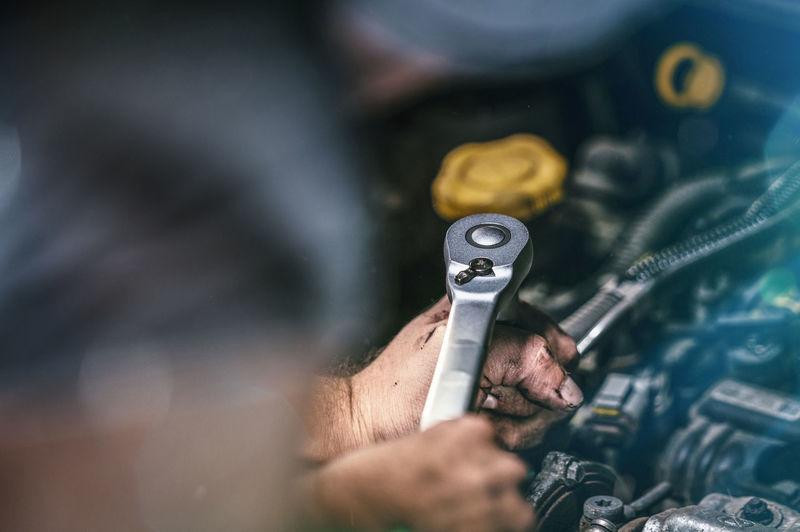 Automobile Checking In DIY Mechanic Service Station Workshop Authentic Auto Auto Mechanic Automotive Car Car Engine Dirty Engine Garage Hand Inspection Job Maintenance Oil Repair Shop Technician Vehicle