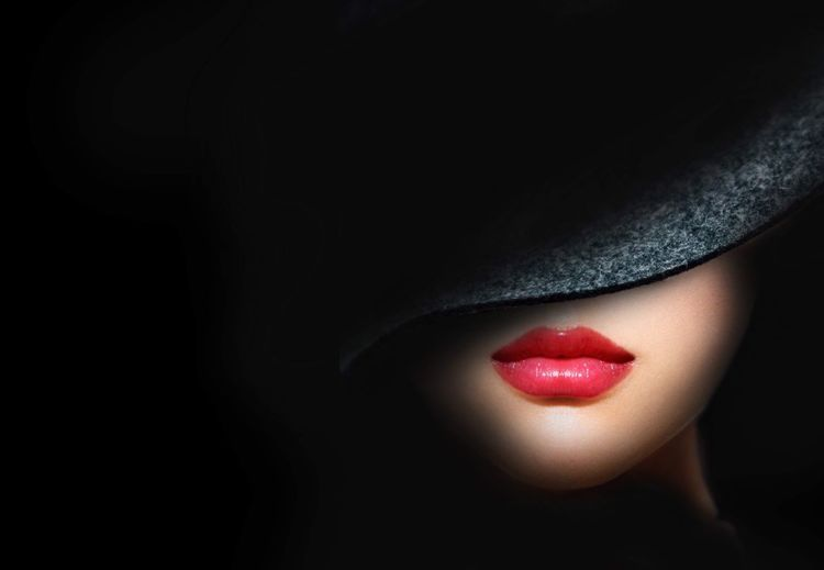 Red! Make-up Human Body Part Lipstick One Person Body Part Beauty Red Human Lips Women Beautiful Woman Fashion Human Face Beautiful People Close-up Glamour Females Portrait Dark Black Background