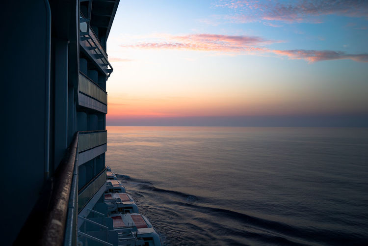 Cruise Ship Cruise Ships Mediterranean  Mediterranean Sea Ocean View Travel Vacation Time Vacations Beauty In Nature Cruise Destination Horizon Over Water No People Norwegian Cruise Ocean Scenics Sea Ship Sky Sunrise Sunset Tranquil Scene Tranquility Vacation Water
