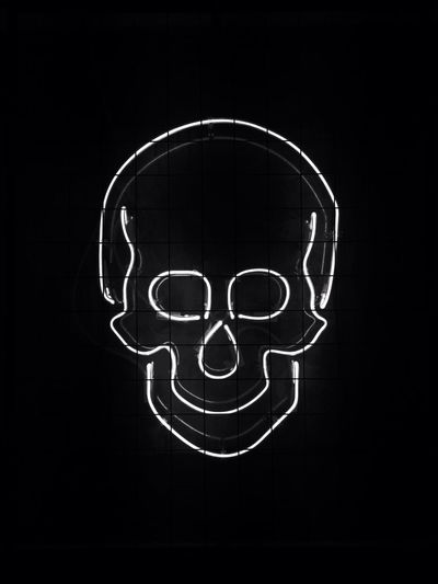 Skull All The Neon Lights Fine Art Photography Monochrome Photography