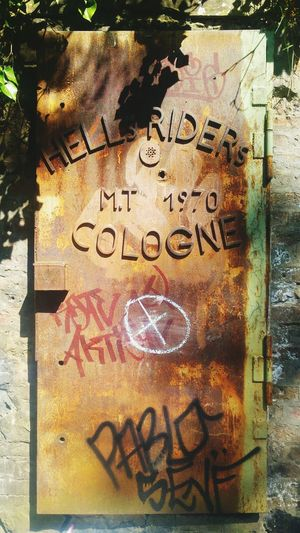 Former Hell's Riders HQ CologneIron Door Fortress Friedenspark Kölner Südstadt Rusty Light And Shadow