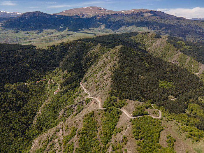 High angle view of mountain road against sky