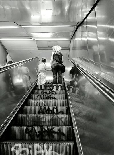 Transportation Mother And Son Subway Streetphoto_bw Blackandwhite