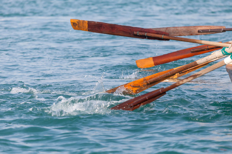 Oars in water, closeup
