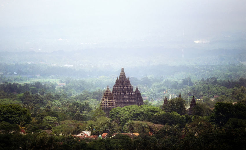 Tree Architecture Religion Travel Destinations Nature Built Structure Travel Sky Building Exterior Outdoors Fog No People Spirituality Place Of Worship Tranquil Scene History Tranquility Scenics Landscape Day Prambanan Temple, Yogyakarta INDONESIA