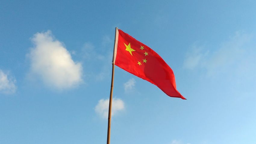 Chinese Flag Blue Sky Day Flag Outdoors Patriotism Red Sky Star