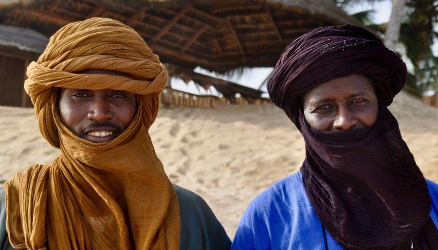 Portrait of men wearing turban in village