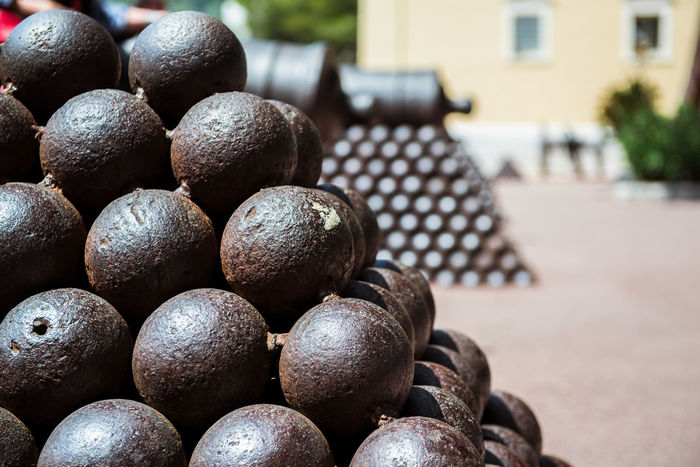 Cannonballs close-up. Photo taken in Princes Palace of Monaco Ancient Bronze Gun Iron Prince's Palace Of Monaco Ammunition Balls Cannonball Canon Ball Close-up Europe Fortress Large Group Of Objects Medieval No People Nobody Outdoors