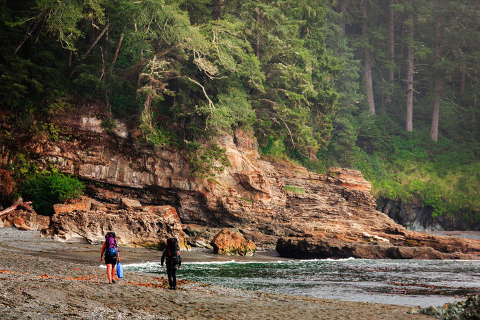 Two hikers navigate the rocky beach trail of Juan be Fuca Provincial Park on Vancouver Island. Beautiful British Columbia Canada150 Nature Old Growth Forest Pacific Northwest  Travel Active Lifestyle  Adventure Beach Beauty In Nature Egde Of The Ocean Forest Hikers Juan De Fuca Outdoors Pacific Ocean Vancouver Island Canada
