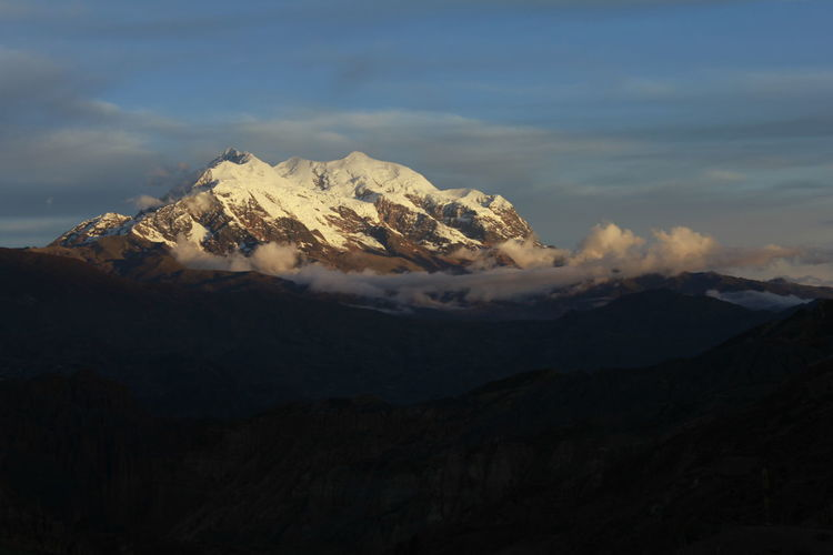 Beauty In Nature Bolivia Cloud Cloud - Sky Day Geology Idyllic Illimani Landscape Majestic Mountain Mountain Range Nature No People Non-urban Scene Outdoors Physical Geography Remote Scenics Season  Sky Snowcapped Mountain Tranquil Scene Tranquility Showcase July