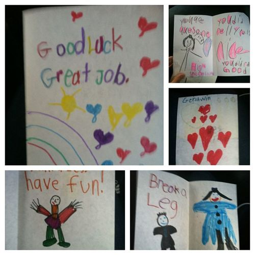 Good luck cards from first graders :) Happy Showchoir