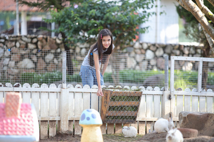 Portrait of cute girl standing by fence feeding rabbit