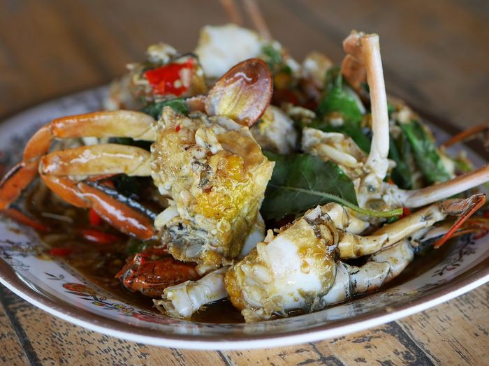 Stir fried Crab with chili & Basil leaves , spicy seafood dish Crab Crab Fried Ocean Food Ocean Fried Egg Crustacean Seafood Living Organism Vegetable Close-up Food And Drink Crab - Seafood
