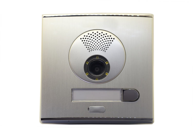 Video doorbell intercom on a white background Camera Electronic Entrance Gate Home Access Buttons Buzzer Communication Door Equipment Intercom Protection System Technology Video Visual Voice