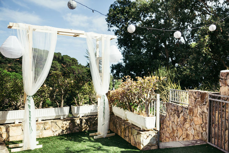 Clothesline Day Drying Growth Hanging Nature No People Outdoors Sky Sunlight Tree Wedding Arch Wedding Decoration