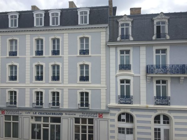 Blue Building Exterior Built Structure France Open Windows Reastaurant St. Malo Window