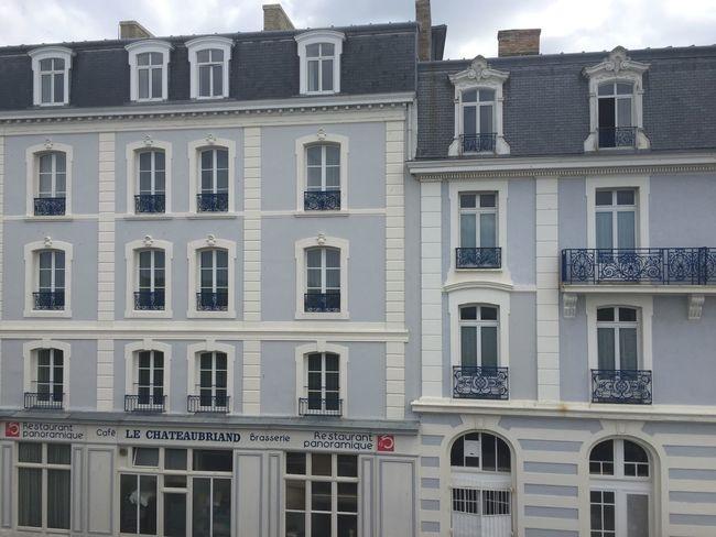 Blue Building Exterior Built Structure France Open Windows Reastaurant St. Malo Window