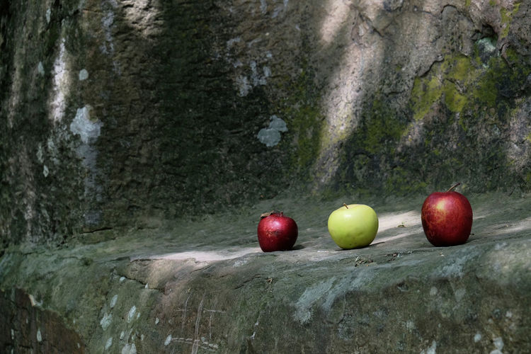 Close-Up Of Apples On Rock